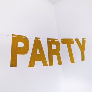 Let's Party Bitches - Gold Sparkly Glitter Banner - Sparkle Rock Pop