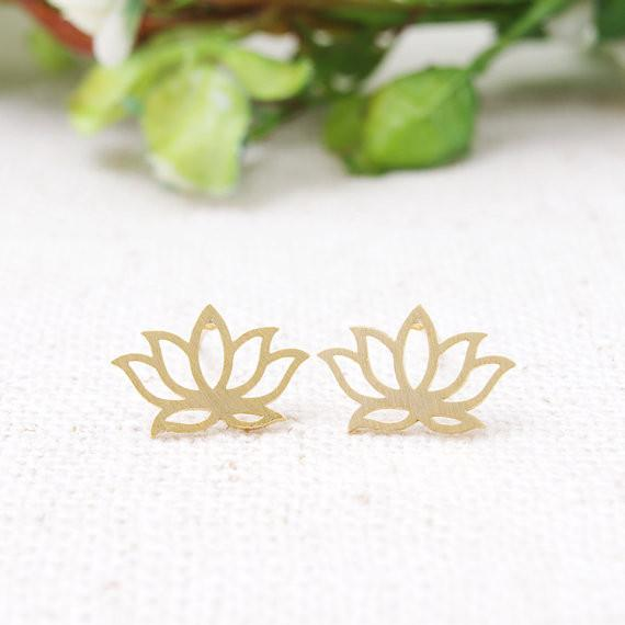 Lotus Silhouette Stud Earrings - Sparkle Rock Pop