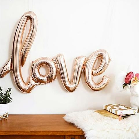"""love"" Balloon - Rose Gold Foil Balloon Letters, 40"" long - Sparkle Rock Pop"