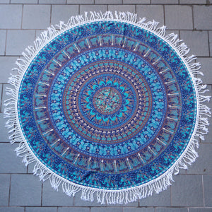 Mandala Tapestry - Blue Circle - Sparkle Rock Pop