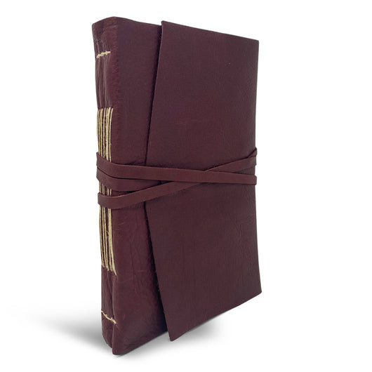Italian Leather Wrap Journal With Handmade Amalfi Pages - Bordeaux
