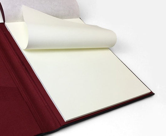 Black leather padfolio with Tomoe River Paper cream colored paper - A4 size