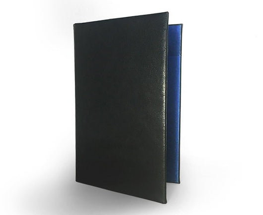 Epica's Black Italian leather padfolio with blue fabric interior