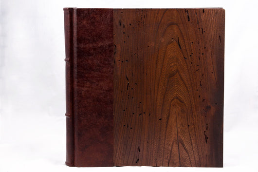 Wooden Photo Album 12x12 Handmade Leather & Wood Cover