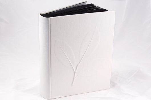 Albums - Nature Inspired Leather Album In Bas Relief - White (in 2 Sizes)