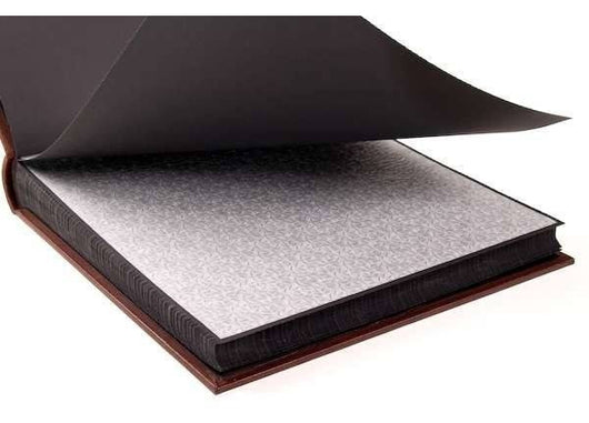 Albums - Silk-lined Photo Album, In Classic Italian Leather - Black Pages  18x18