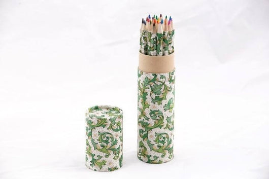 Desk Accessories - Coloring Pencil Set, Handwrapped In Florentine Pattern - Green
