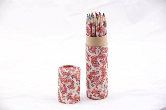 Desk Accessories - Coloring Pencil Set, Handwrapped In Florentine Pattern - Red