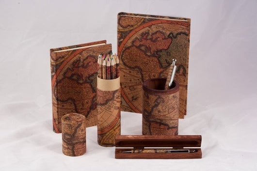 Desk Accessories - Coloring Pencil Set Handwrapped With Olde World Maps