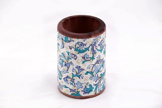 Desk Accessories - Wood Pen/Pencil Cup - Florentine Pattern - Blue