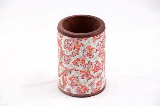 Desk Accessories - Wood Pen/Pencil Cup - Florentine Pattern - Red
