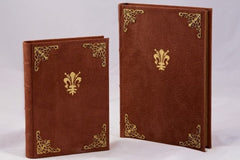 Handmade Italian Suede Leather Journal With Intricate Metalwork On Cover & Gilded Pages (in 2 sizes)