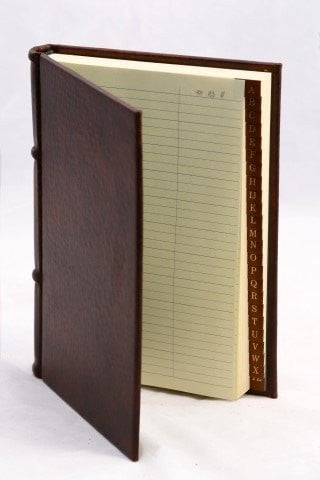 Italian Leather Address Book Classic Brown