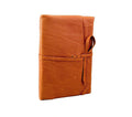 Italian Leather Wrap Journal With Handmade Amalfi Pages in Camel