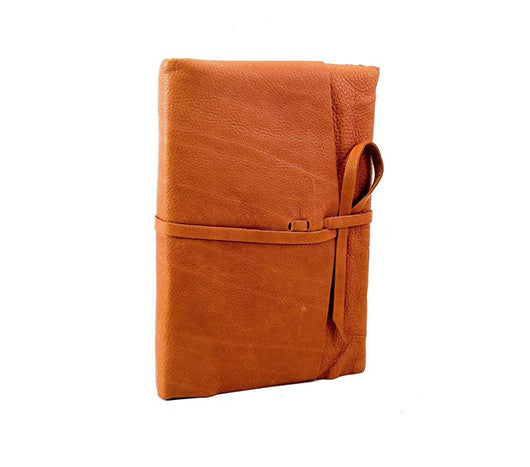 Italian Leather Wrap Journal Featuring Handmade Amalfi Pages - Camel color