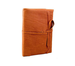 Italian Leather Wrap Journal With Handmade Amalfi Pages - Camel
