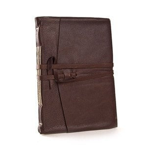 Italian Leather Wrap Journal Featuring Handmade Amalfi Pages in Espresso