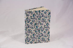 Journal, handwrapped in Florentine pattern - blue