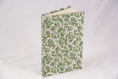 Journal, handwrapped in Florentine pattern - green