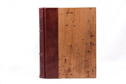 Journals - Reclaimed Wood&Leather Journal Featuring Handmade Amalfi Pages
