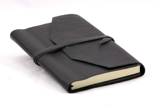 Refillable Handmade Leather Wrap Journal - Black