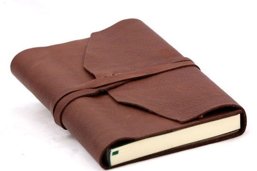 Refillable Handmade Leather Wrap Journal - Espresso brown