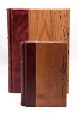 Wood and Leather cover Journal with lined writing pages