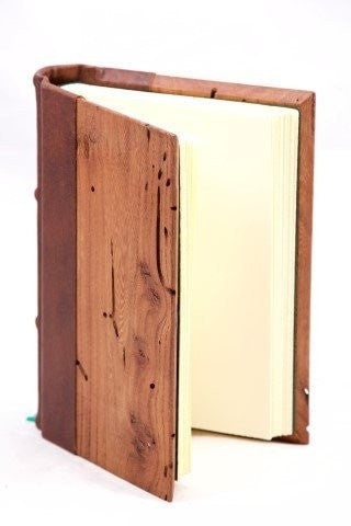 Journals - Wood And Leather Cover Journal With Lined Writing Pages