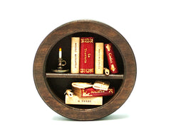 Miniature Wood Bookcase Ornament - Round