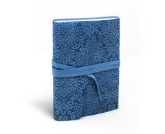 Barocco Suede Notebook - Wrap Style - Celestial Blue