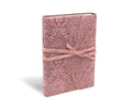 Suede leather notebook journal millennial pink Barocco pattern soft cover