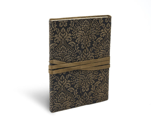 Barocco Suede leather notebook Journal wrap style in Espresso brown
