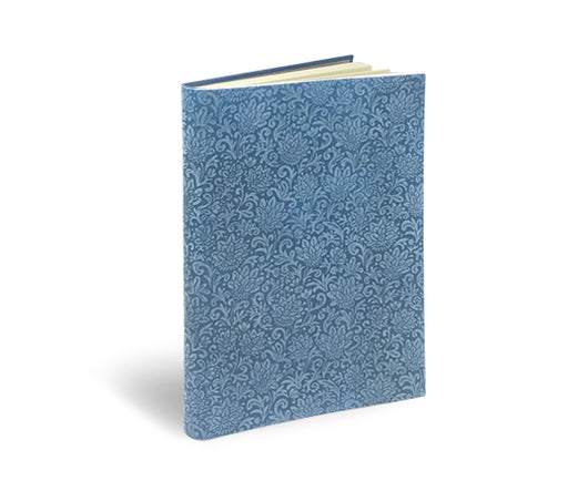 suede leather notebook journal celestial blue Fiori pattern soft cover
