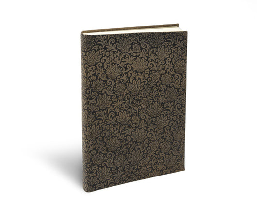 suede leather notebook journal Fiori pattern softcover espresso brown