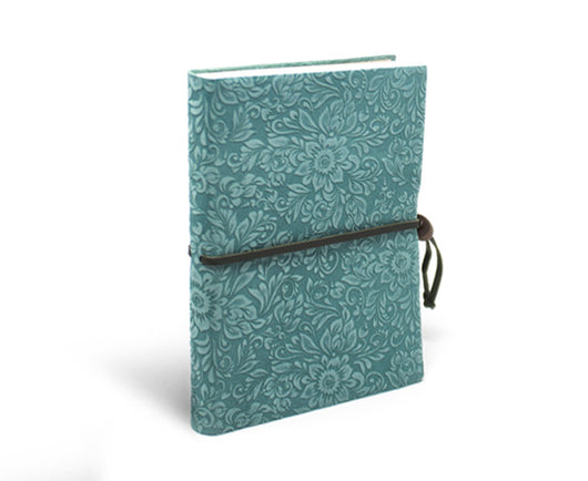 Epica suede notebook with closure in aqua marine