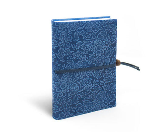 Epica's blue suede notebook with closure