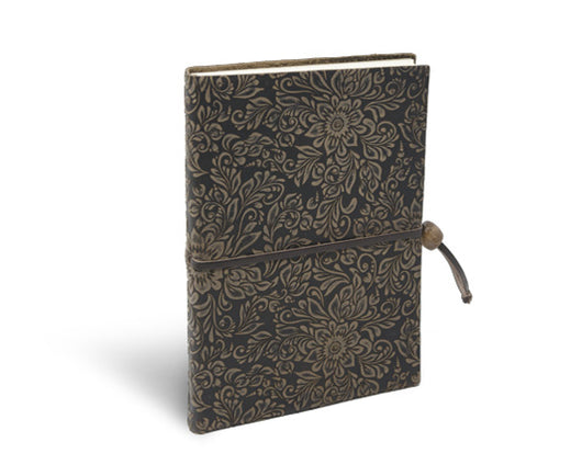 Epica's suede notebook with closure in Espresso brown leather