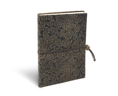 Fiori Suede Notebook w/Closure - Espresso Brown