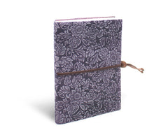 Fiori Suede Notebook w/Closure - Lavender Frost