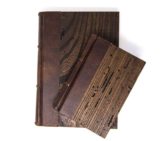 Wood & Leather Cover Journal with unLined Writing Pages