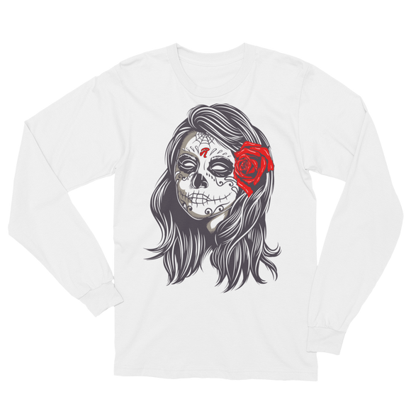 Rose Calavera Unisex Long Sleeve T-Shirt - redeyedandlifted