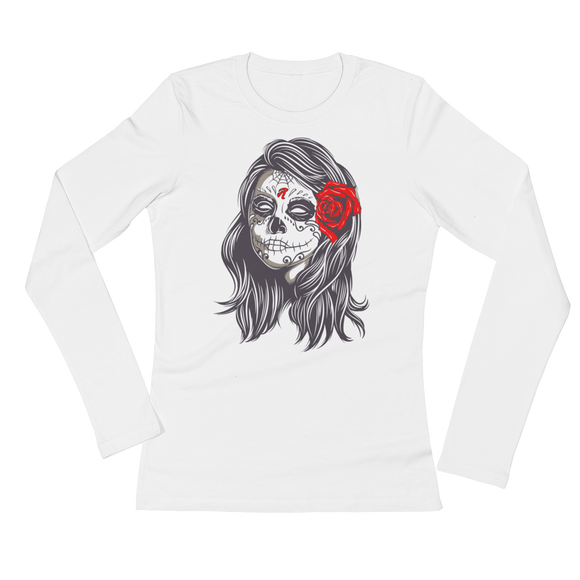 Rose Calavera Ladies' Long Sleeve T-Shirt - redeyedandlifted