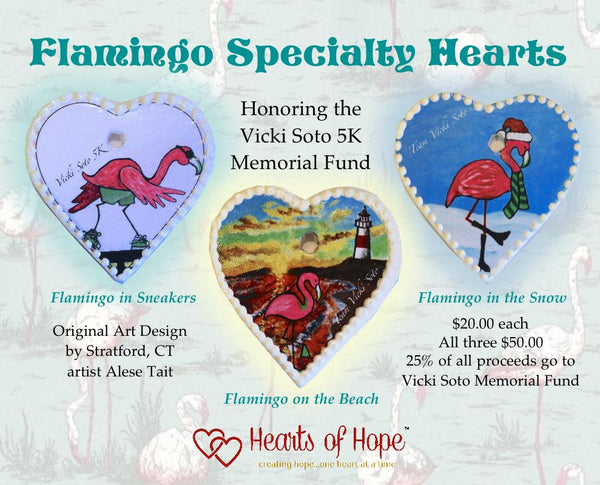 Set of Three Vicki Soto Flamingo Specialty Hearts