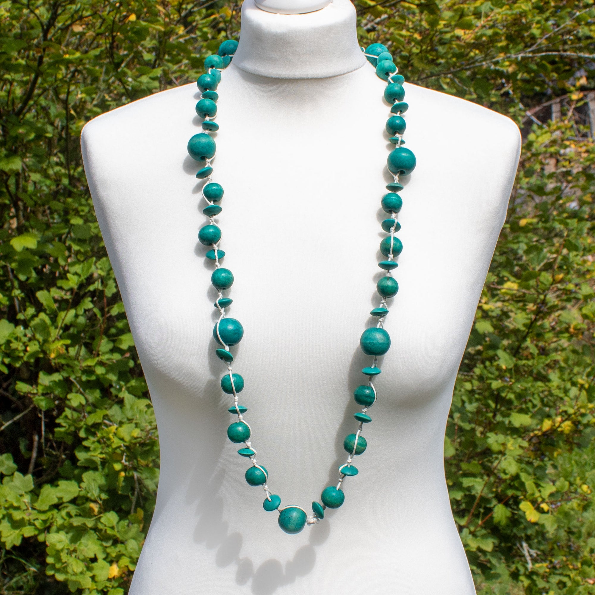 Turquoise Wooden Bead Necklace | Necklace - The Naughty Shrew