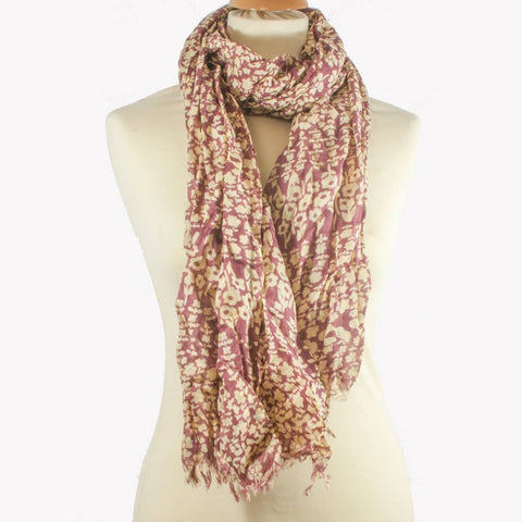 Pink & Cream Flower Print Scarf - the naughty shrew
