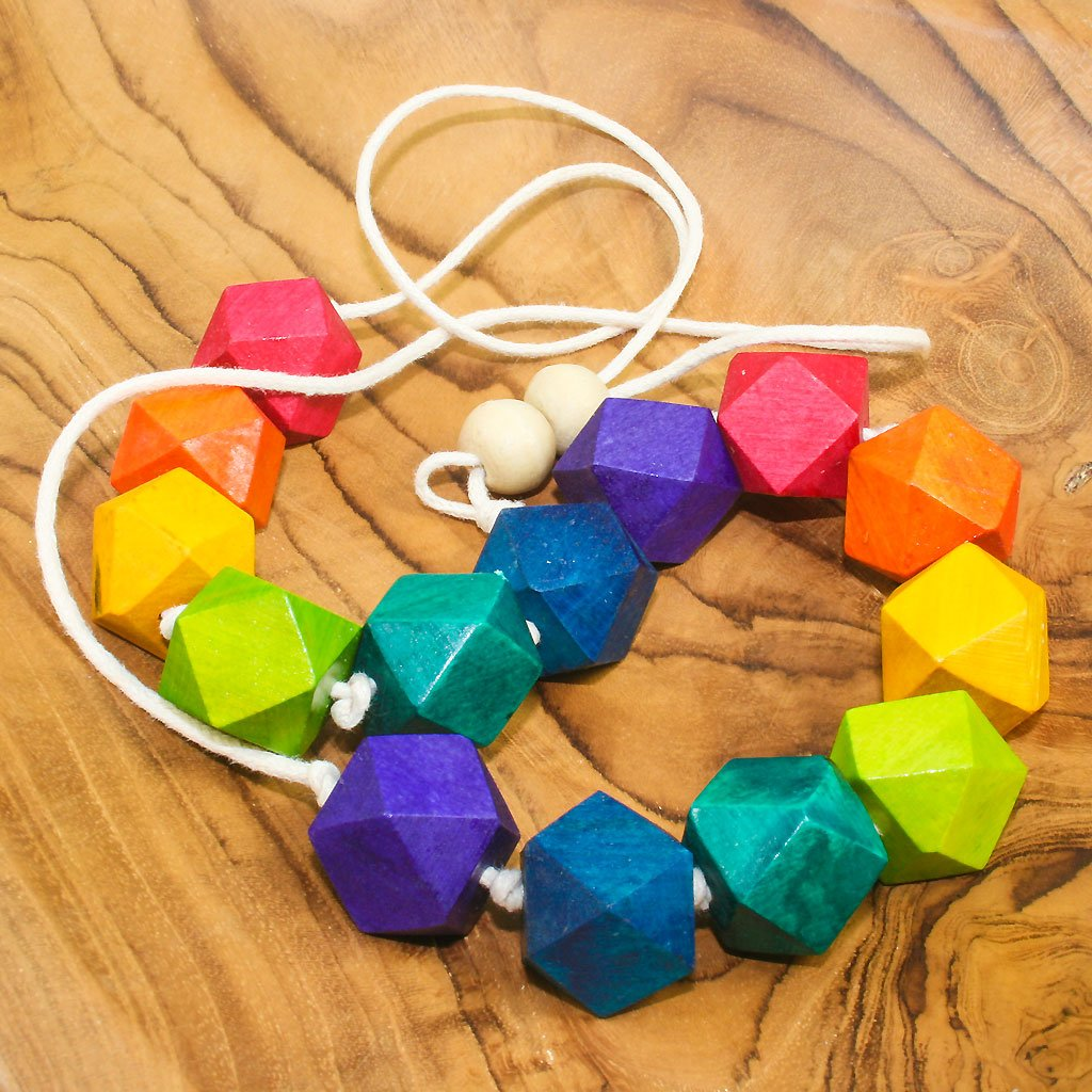 Rainbow Geometric Wooden Bead Necklace - The Naughty Shrew
