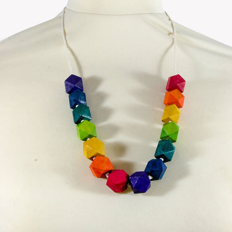 Rainbow coloured geometric wooden bead necklace - the naughty shrew