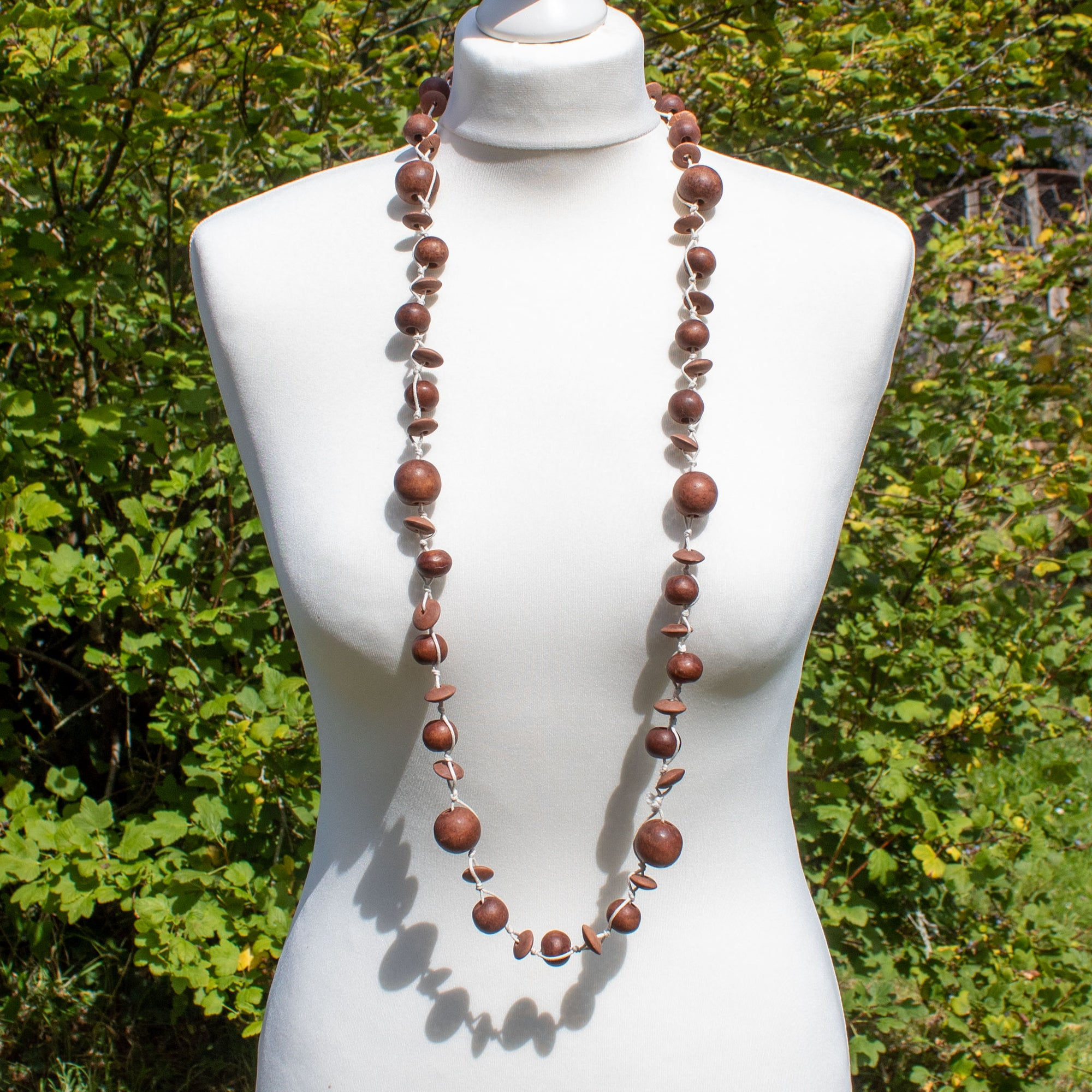 Brown Wooden Bead Necklace | Necklace - The Naughty Shrew