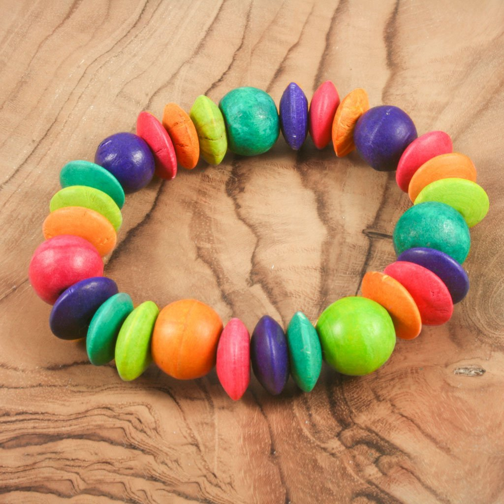 Rainbow wooden bead bracelet | Bracelet - The Naughty Shrew