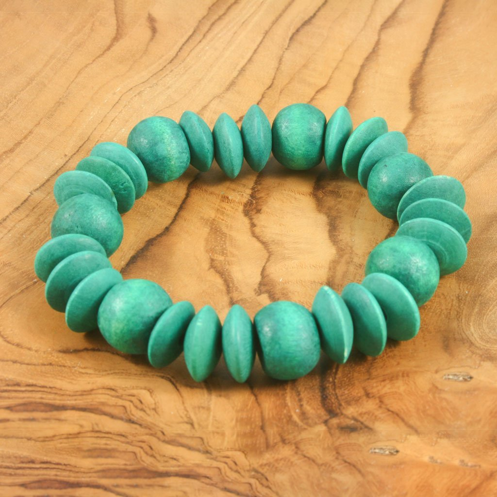 Turquoise wooden bead bracelet | Bracelet - The Naughty Shrew